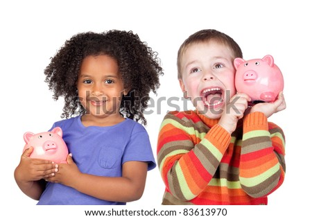 Two happy children with moneybox savings isolated over white - stock photo