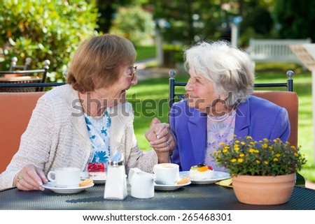 Two Happy Elderly Women Chatting at the Garden Table with Coffee and Snacks While Holding their Hands. - stock photo