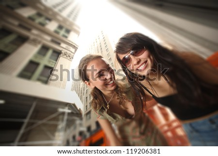 Two happy girls in New York city
