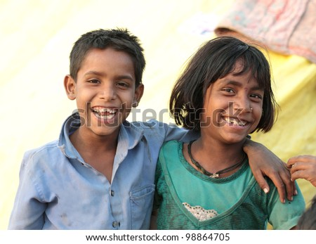two happy indian kids - stock photo