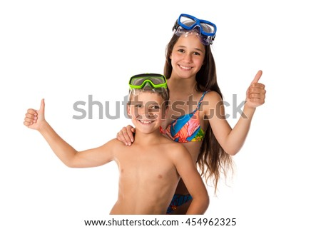 Two happy kids in diving mask standing together, isolated on white - stock photo