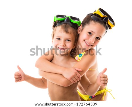 Two happy kids in diving masks standing together, isolated on white - stock photo