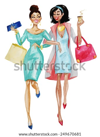Two happy women walking with coffee cup and shopping bags. Watercolor illustration isolated on white. - stock photo