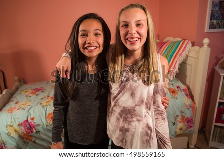 two happy young girls