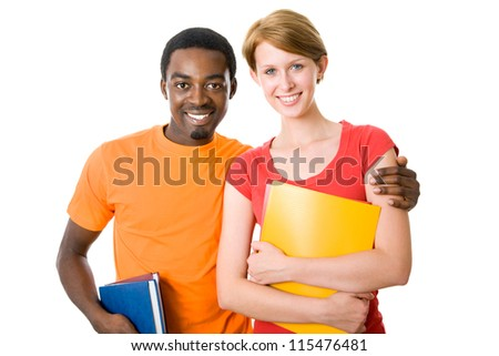 Two happy young students - stock photo
