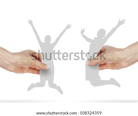 Two happy young women jumping in the air - stock photo