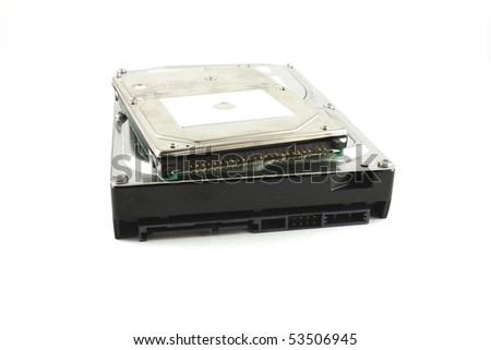 Two hard drives for computers over white - stock photo