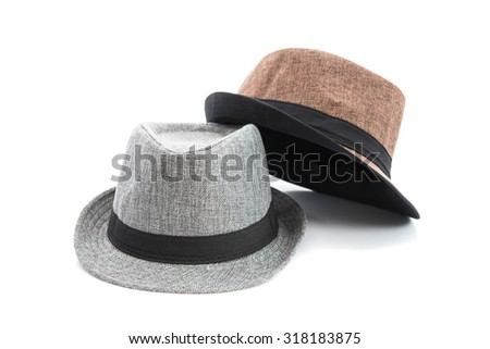 two hats on the white background isolated - stock photo