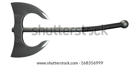 two headed battle axe. isolated white background. 3d - stock photo
