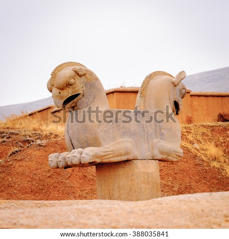 Two-headed Griffin statue in the ancient city of Persepolis, Iran. UNESCO World heritage site - stock photo
