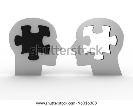 Two heads with a puzzle. 3D image - stock photo