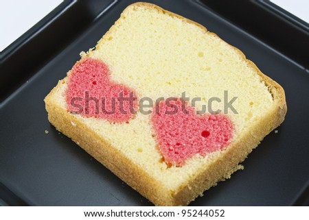 two heart in one butter cake - stock photo