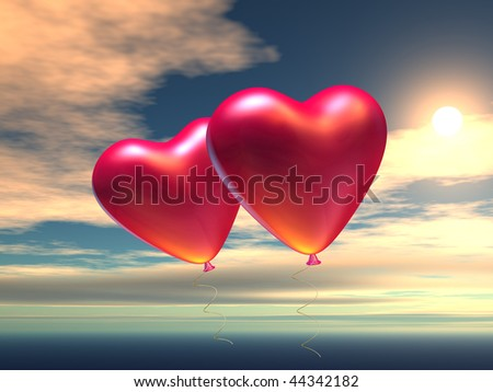 Two heart-shaped baloons in the sky, the symbols of love. 3d generated image.