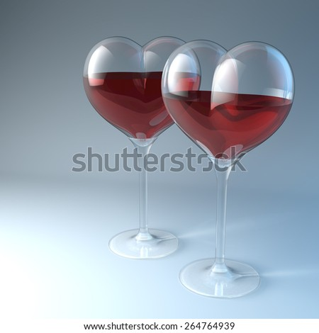 Two heart shaped red wine glasses, 3d rendering - stock photo