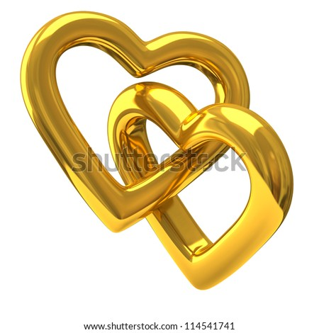 Two heart shaped rings together 3d - stock photo