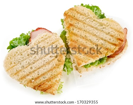 Two heart toast sandwiches  - stock photo