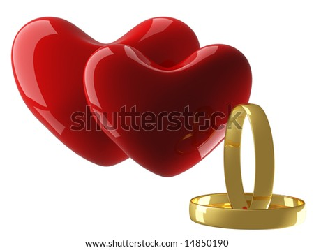 Two heart with wedding rings on a white background. 3D image. - stock photo