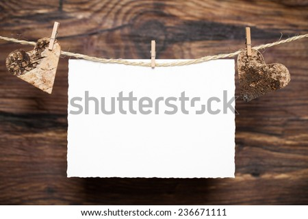 two hearts and a cart for a message - stock photo
