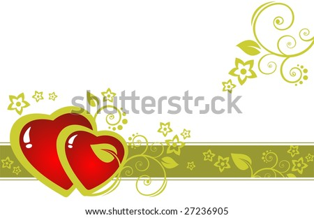 Two hearts and flowers pattern isolated on a white background.