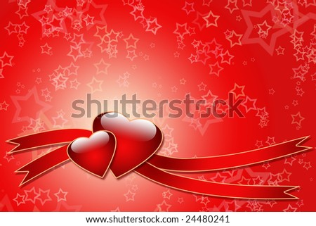 Two hearts and ribbons over star background - just write your text on it