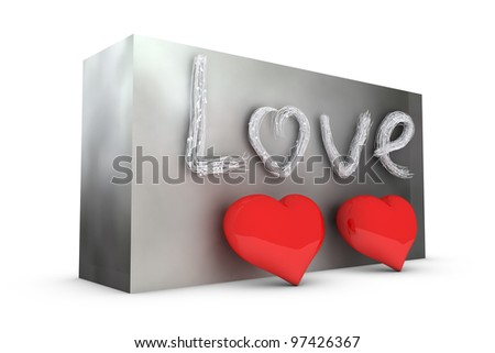 two hearts and stylized text on grey wall - stock photo