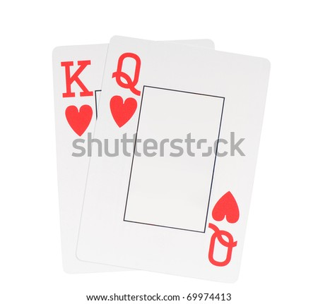 Two Hearts blank playing cards king and queen, symbol of love game, objects isolated on white background, nobody.