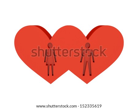 Two hearts. Figure of man and woman cutout inside. Concept 3D illustration.