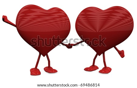 Two Hearts in Love. 3D Love concepts. - stock photo