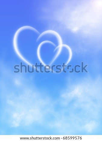 two hearts in the sky with clouds - stock photo