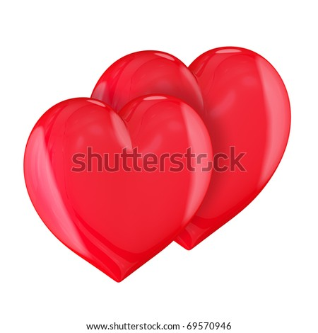Two hearts isolated on white background. Togetherness concept.