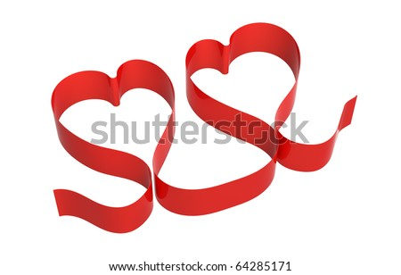 Two hearts made of red band isolated on white