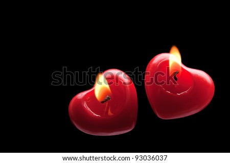 two hearts on a black background - stock photo