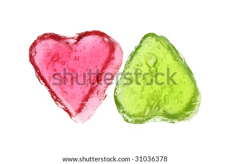 two hearts on a white background - stock photo