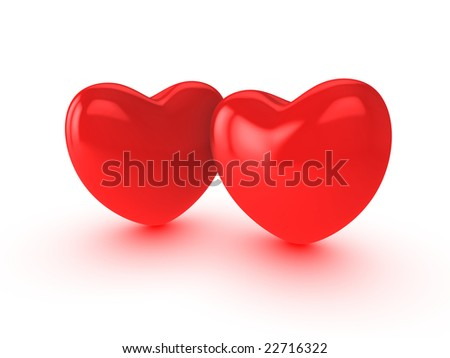 Two hearts on white background - stock photo