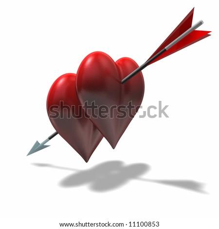two Hearts one Arrow - stock photo