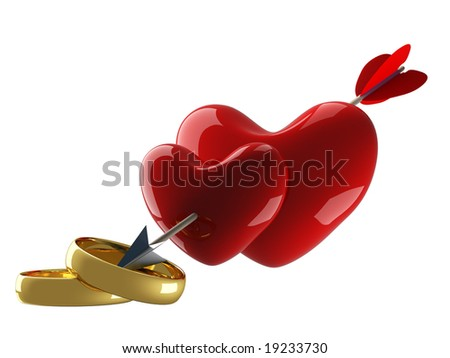 Two hearts pierced by an arrow. 3D image. - stock photo