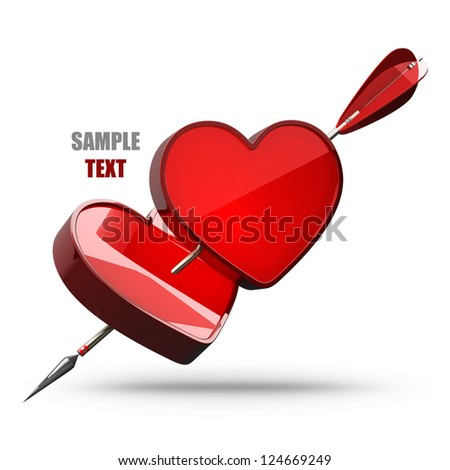 Two hearts pierced by an arrow isolated on white background  high resolution 3d illustration - stock photo