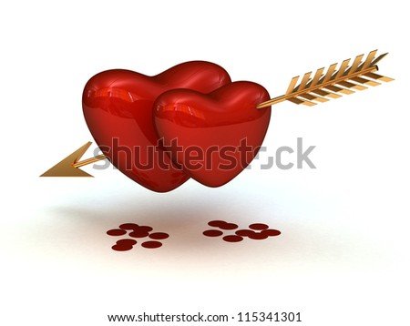 Two hearts pierced by an gold arrow with the drops of blood - stock photo