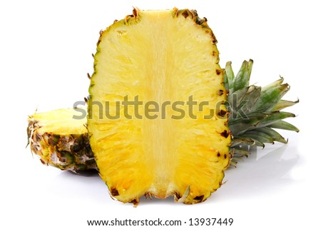 Two helves of pineapple on white background.