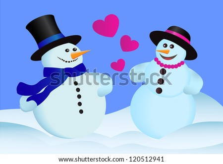 two heterosexual lovers snowman standing in the snow - stock photo