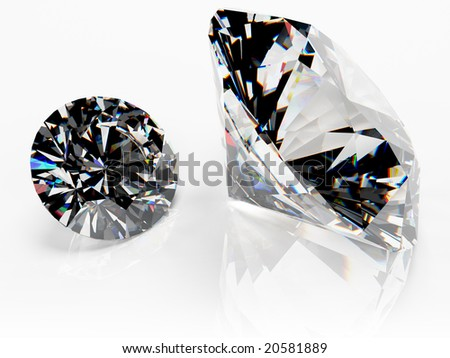 Two high quality brilliant cut clear diamonds.  Clipping path included. Photorealistic 3D rendering with HDR lighting. - stock photo