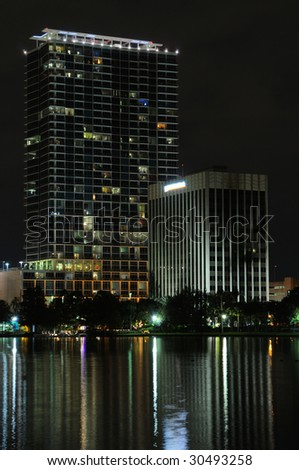 Two high rise buildings in Downtown Orlando FL - stock photo