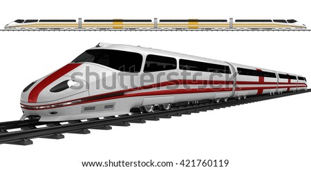 Two high speed bullet train. 3d illustration. Isolated on white