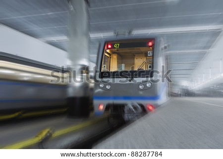 two high-speed trains in the subway - stock photo