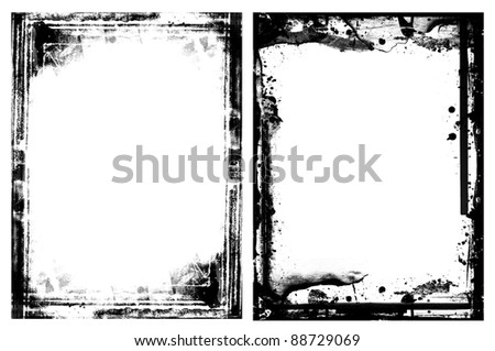 Two highly detailed grunge frames  with space for your text or images. Great grunge layer for your projects. - stock photo