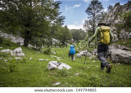 Two hikers in Bosnia and Herzegovina - stock photo