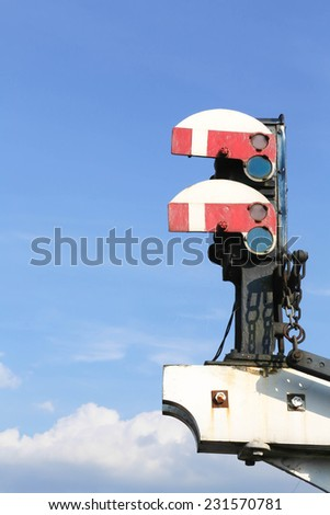 Two historic home British Railway signals in the stop position - stock photo