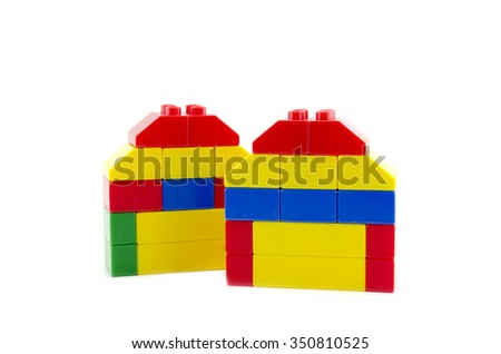 two home icon made from plastic building blocks isolated on white background
