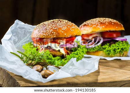 two homemade chicken burger with vegetable - stock photo