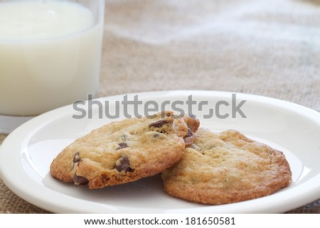 Two homemade chocolate chip cookies and a glass of milk - stock photo